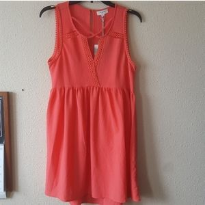 Umgee Sleeveless Dress Small Cross Front Orange